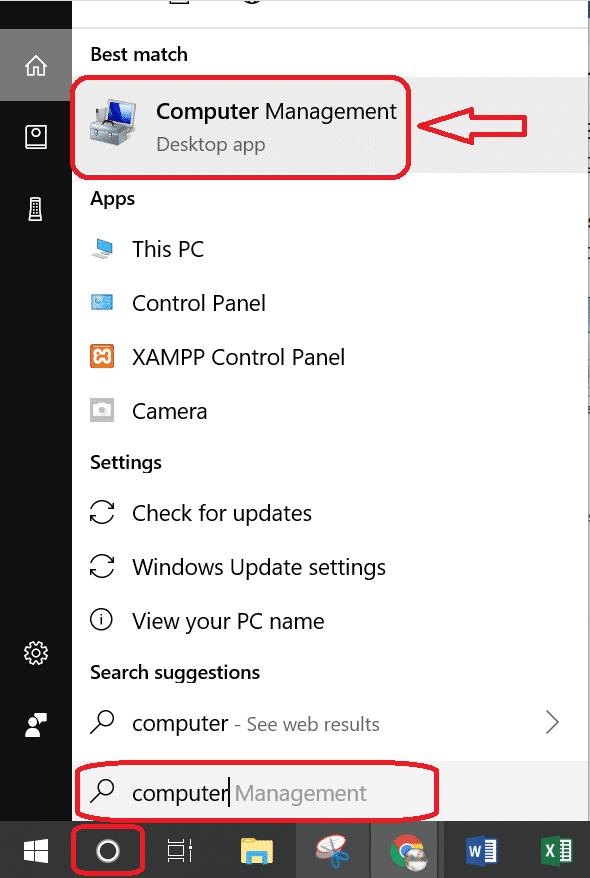 Mở hộp thoại computer Management để kiểm tra xem có thiếu PCI Simple Communications Controller Driver